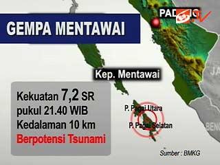 Gempa dan Tsunami Melanda Kepulauan Mentawai, Sumbar