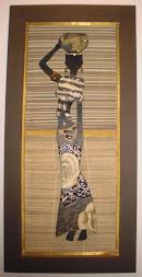Africana em mdf com retalhos de papel e bijou