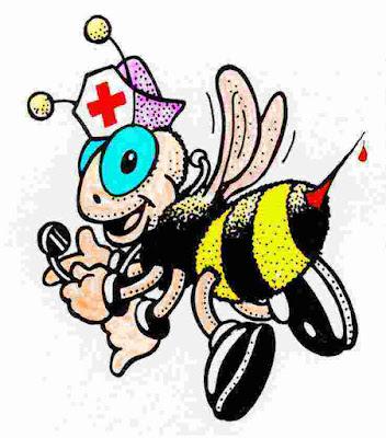 Dibujo: abeja vestida de enfermera, con estetoscopio y cofia