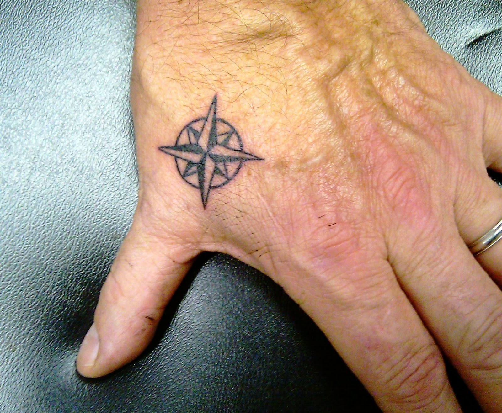 Tattoo; Compass Rose, On Hand