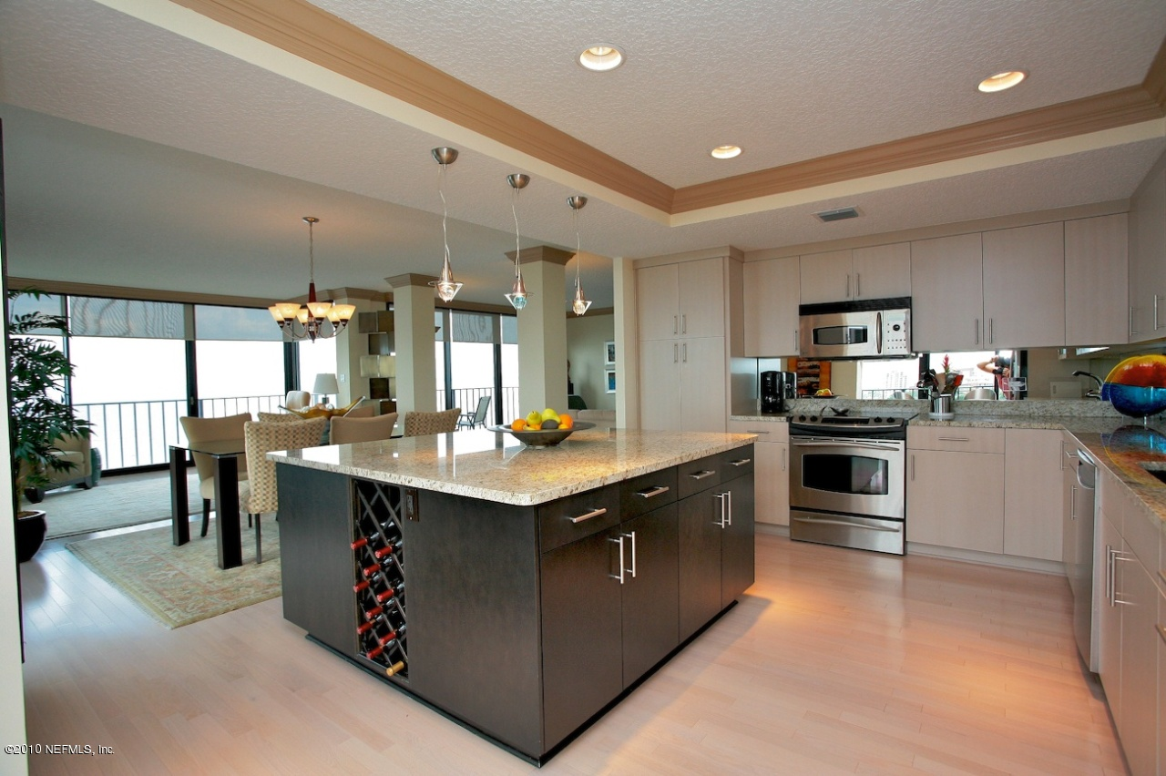 large open kitchen with high end contemporary cabinets