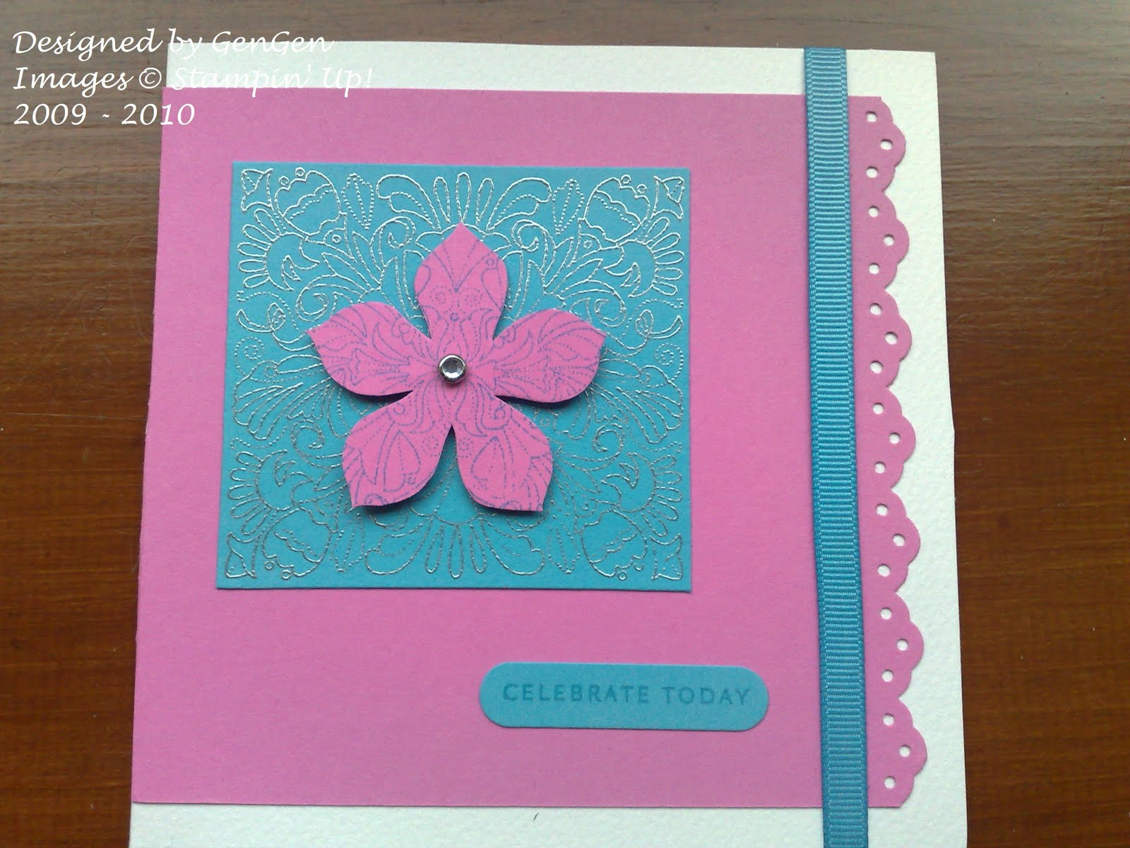 Card Making Competition Ideas Part - 17: As It Was Possible To Have Multiple Entries I Added This One For Fun As  Itu0027s My Favorite Colour Combination - Regal Rose And Tempting Turquoise -  Both In ...
