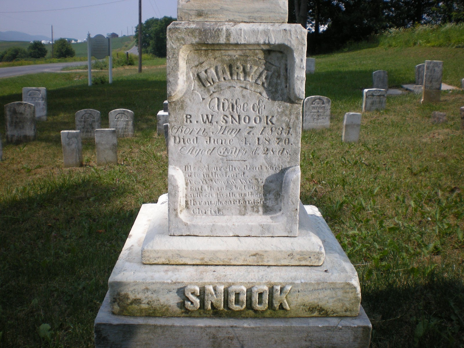 Grave of Mary Ann (Walker) Snook, Row 2, Grave 4, Brungart Cemetery,