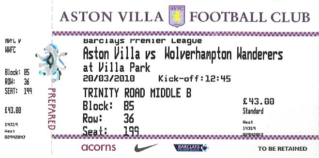Ringway Update 2 Free Tickets Available Aston Villa V Wolves