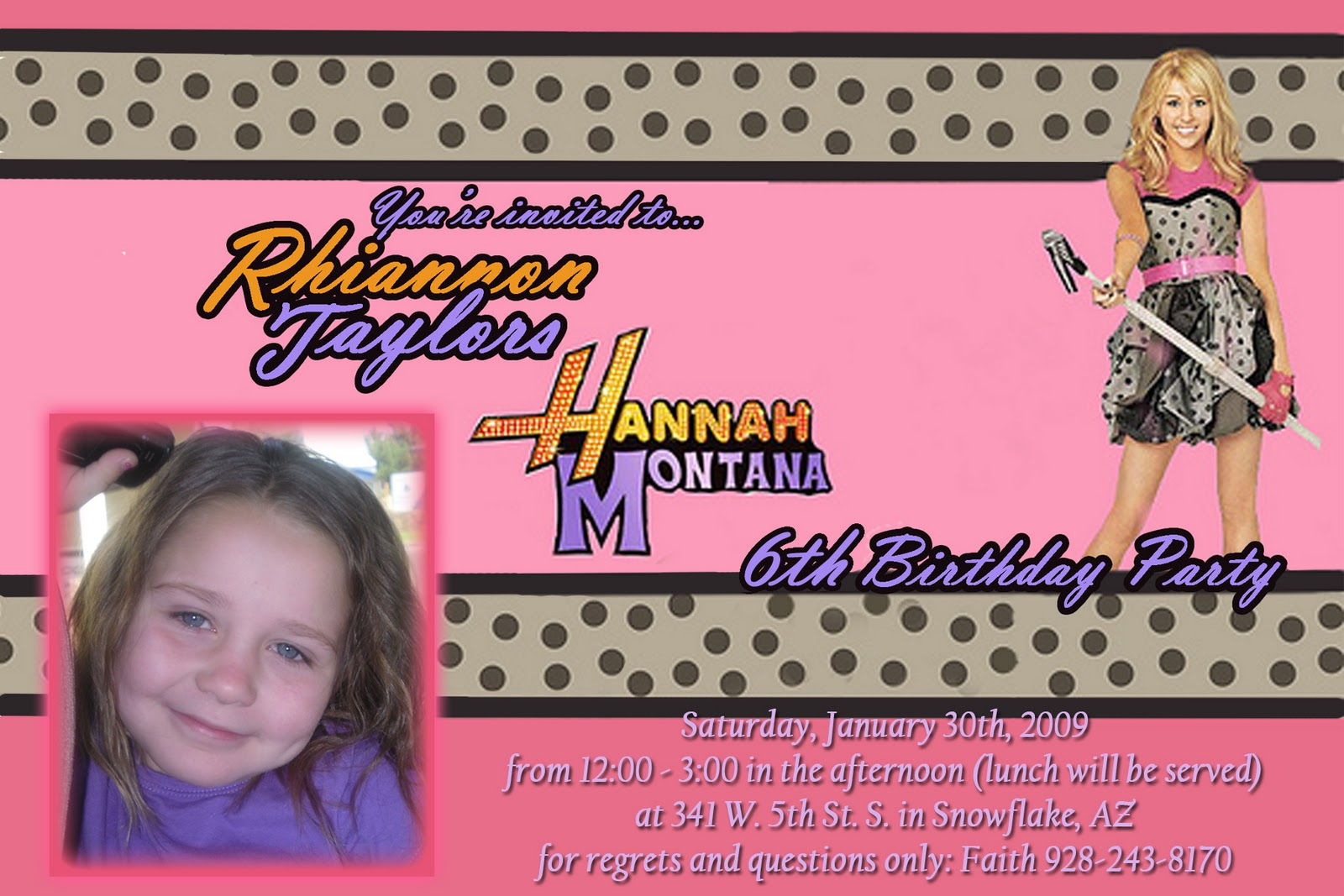 Hunt 4 Announcements And Invites Hannah Montana Birthday Invite