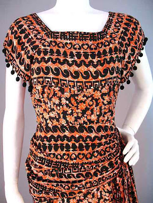1940's dress, sarong, novelty print