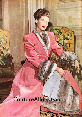 Carven fur lined robe, 1946