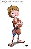 Digital illustration of a cartoon shepherd boy