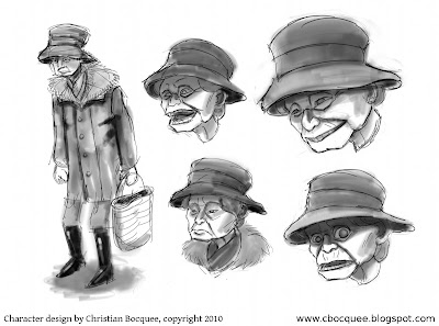 Spooky old lady character design model sheet