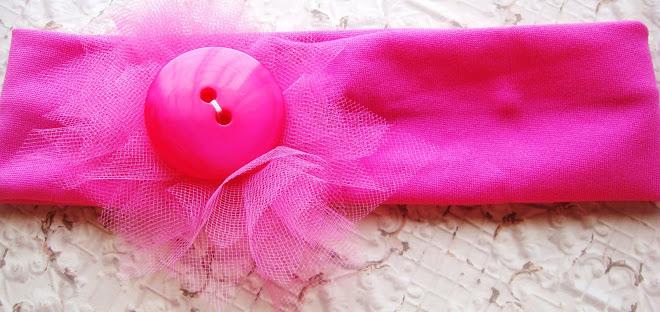 banda rosa flor de tul