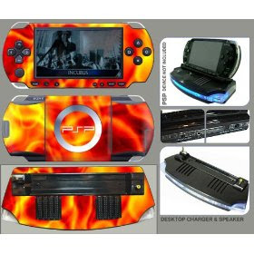 PSP Flame Skin & Desktop Charger / Loud Speaker with Match Skin