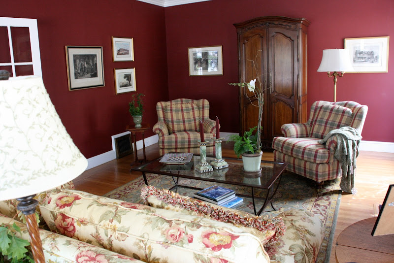 Living Room with Red Plaid Sofa