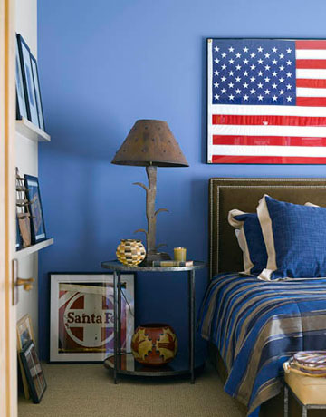 Decorating with red white and blue fleur de list home decor for What kind of paint to use on kitchen cabinets for painted american flag wall art