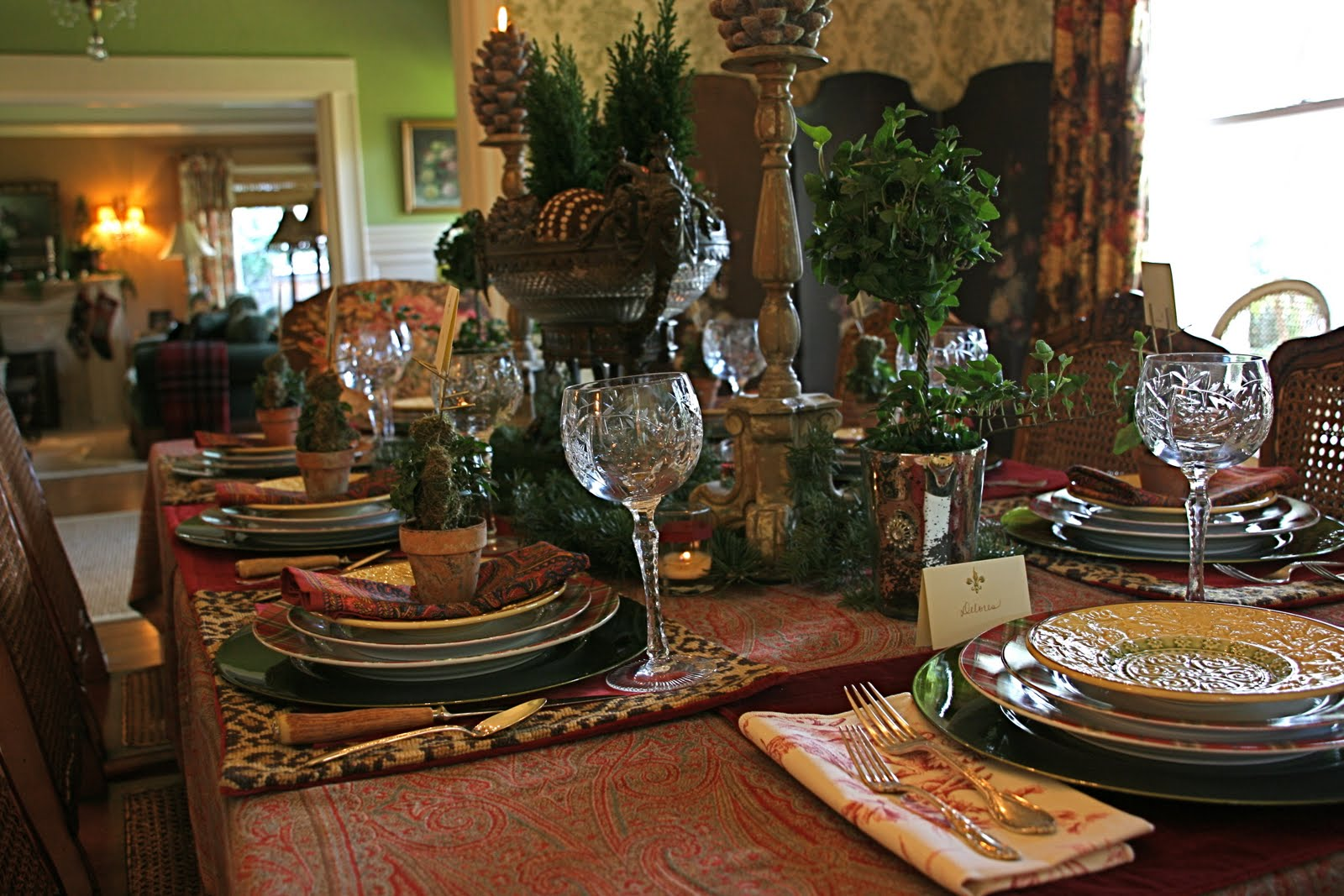 A Christmas Tablescape Of Paisley Tartan And Leopard
