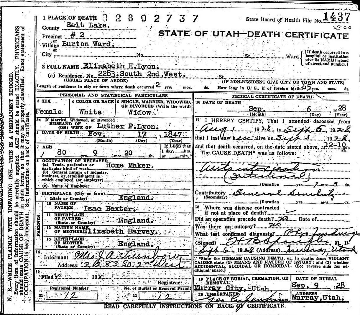 Vincent Family History Vital Records
