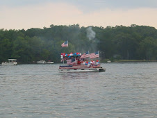 One of the many boats in the 4th of July Boat Parade on Lake Thunderbird