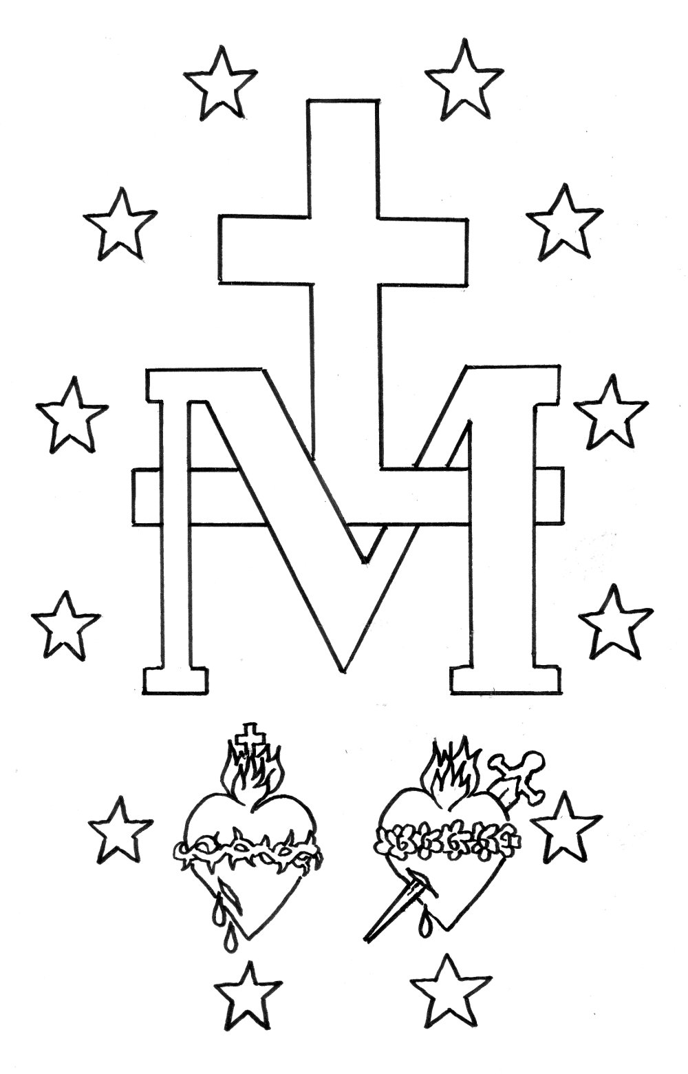 Miraculous Medal Colouring Pages