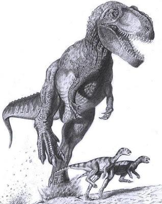 Tiranosaurio Rex persiguiendo a animales mas pequeños