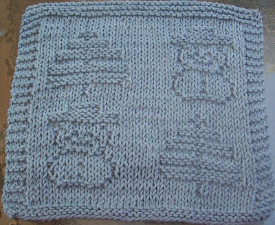Free Knitted Dishcloth Patterns Snowman : DigKnitty Designs: Snowmen and Trees Knit Dishcloth Pattern
