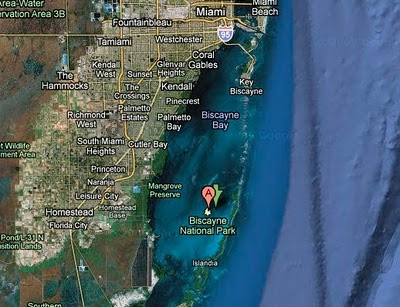 biscayne national park google satellite image