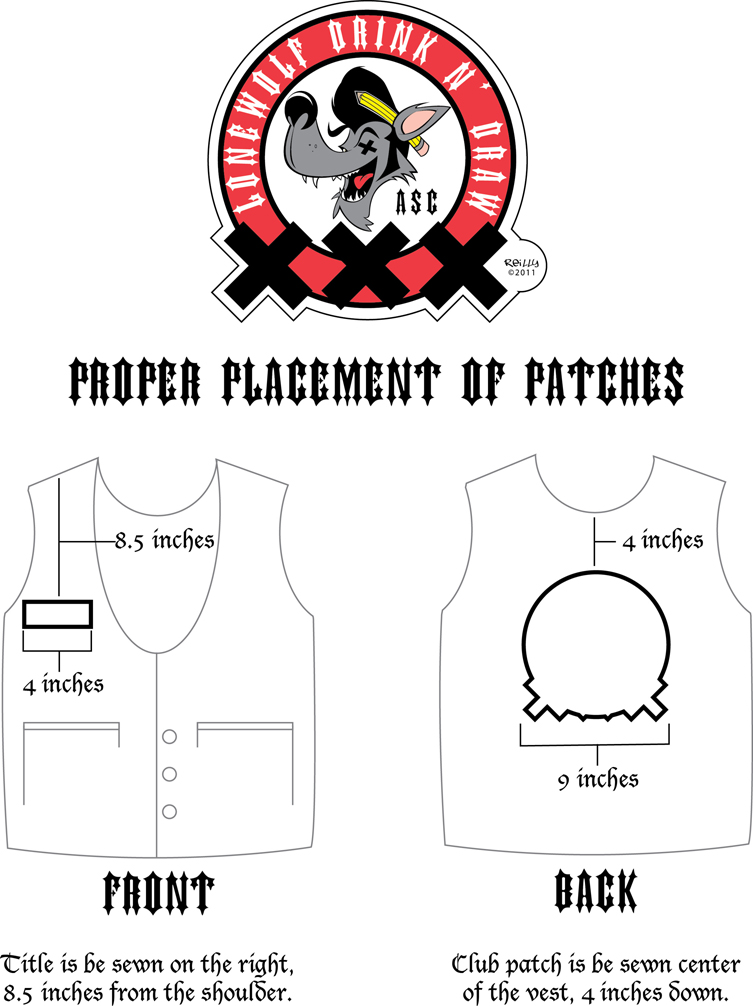 Custom Motorcycle Patches For Vests Biker Vest Patch Placement Image of logo patch to follow.