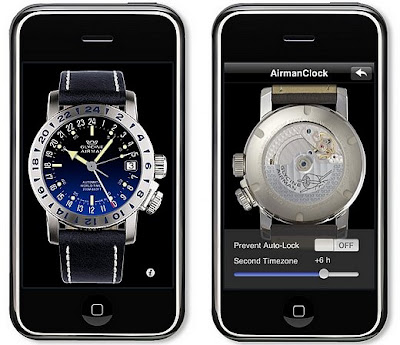 Montre virtuelle Glycine Airman 17 sur l'iPhone