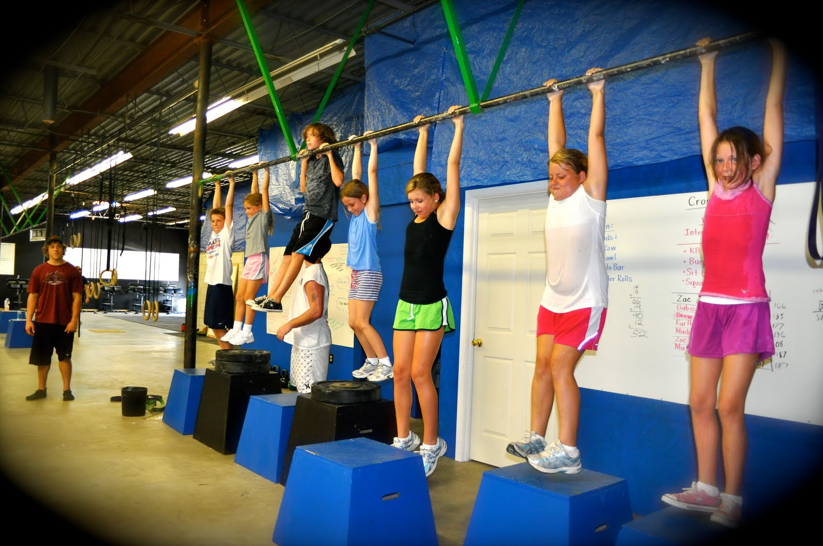 Pull-Up Bar Hanging Competition Inch Worm Exercise Kids