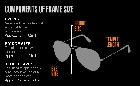 ray ban sunglasses aviator size chart