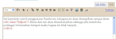 membuat readmore di blogspot
