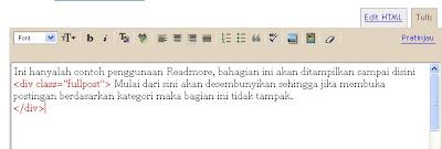 membuat readmore di blogspot