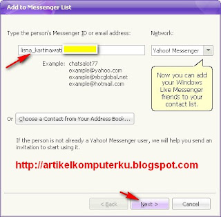 tambah contact yahoo messenger