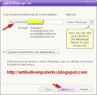 tambah contact yahoo messenger