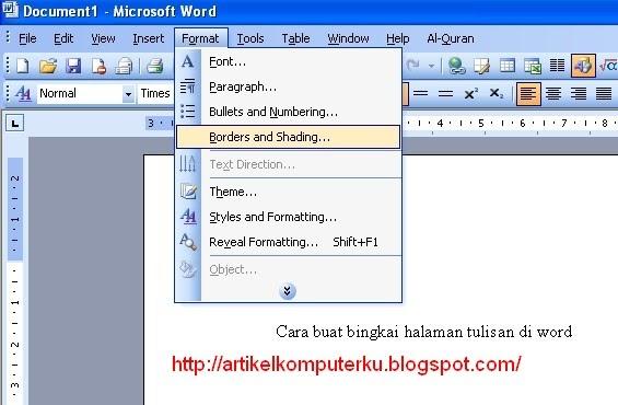 Cara buat bingkai artistik di halaman word | Artikel Komputer