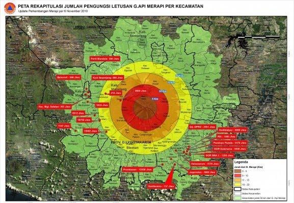 Peta rekapitulasi pengungsi Merapi