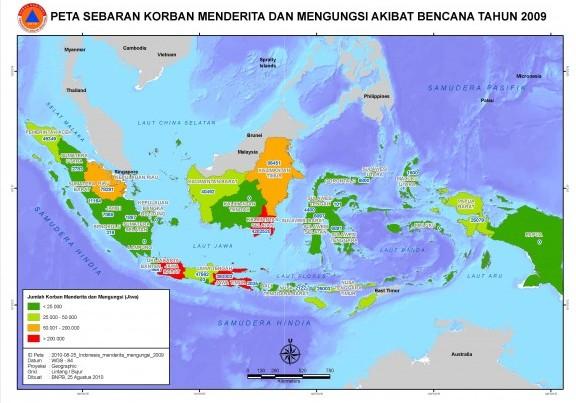 Peta jumlah korban bencana alam di Indonesia
