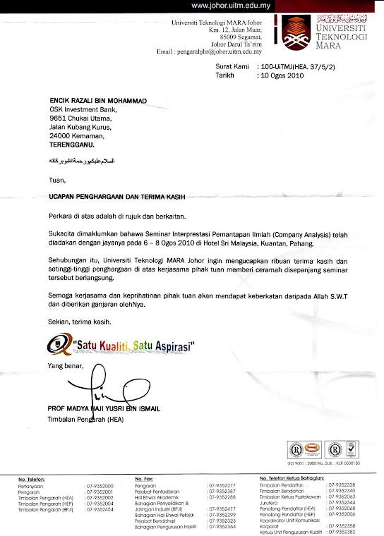 Surat Penghargaan dari UiTM