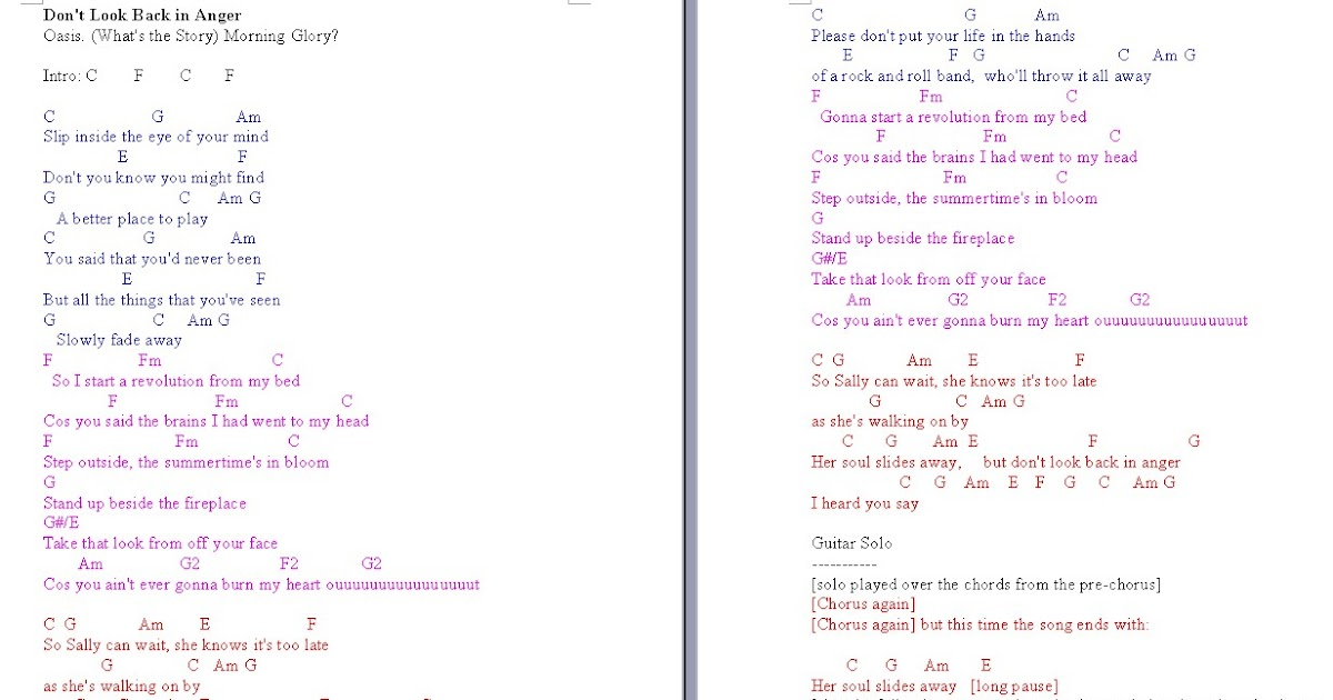 TalkingChord.com: Oasis - Don\'t Look Back In Anger (Chords + Cover)