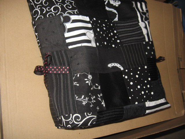 Black patch work ribbon tote