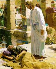Jesús sana a un ciego.