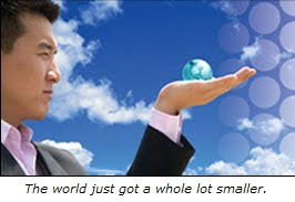 Graphic: Man looking at a very small world in the palm of his hand.