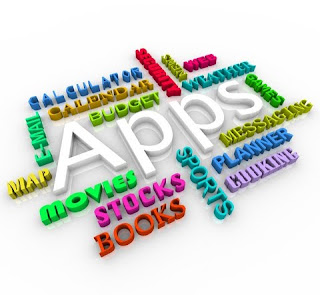 Graphic from Dreamstime.com: a 3-D 'Wordle-type' list of some apps