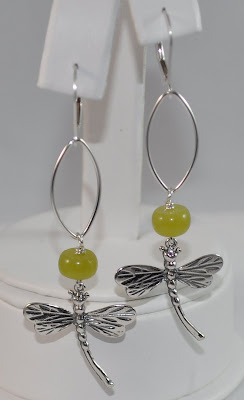 Sterling Silver Signature Dragonfly Earrings - Olive Jade Rock Candy Miami
