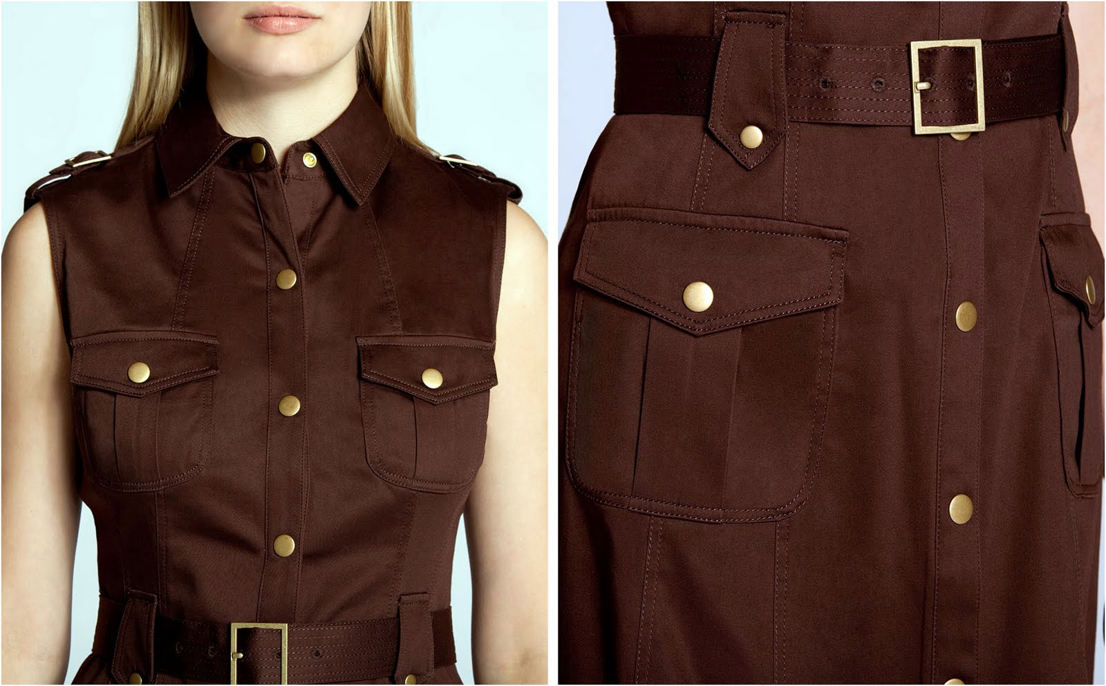 Calvin Klein Brown Belted On Up Dress