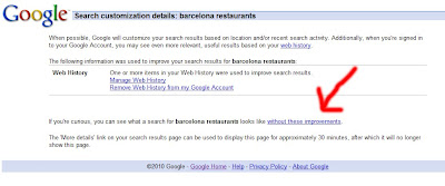 Results Without Personalisation - Barcelona SEO