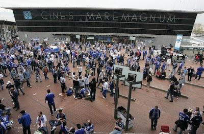 Shalke Fans at Maremagnum - Barcelona Sights
