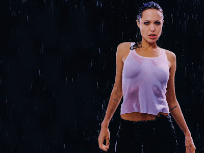 angelina jolie  wet but hot wallpaper
