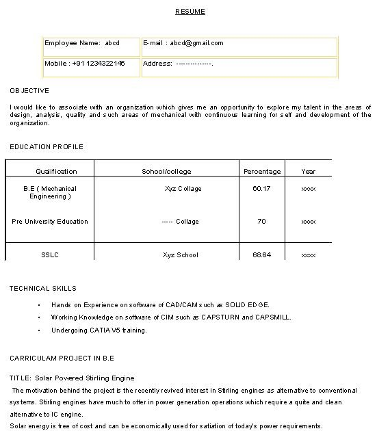 fresher sample resumes