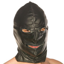 Leather Hood with Zip Eyes & Mouth