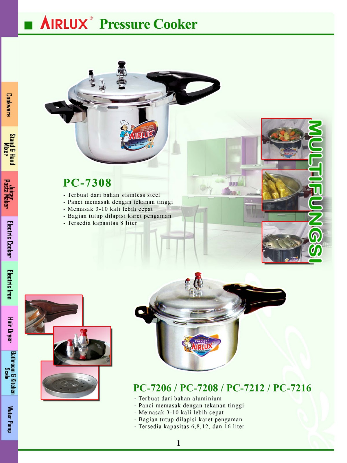 Airlux Stainless Steel Pressure Cooker Pc 7308 Daftar Update Harga Carbon Cookware Bc 8105 Hijau