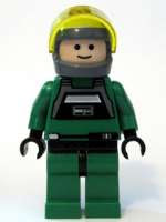 star wars lego 7754 rare minifig Green Squadron Rebel A-Wing Pilot